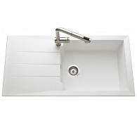 Évier de cuisine blanc MAJORQUE - L 1000 x l 500 mm X P 215 - sous-meuble 50 cm - Aquatop
