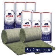 6 paquets de 2 rouleaux laine de verre URSA Façade 32 R - Ep. 80mm - 38,88m² - R 2.50