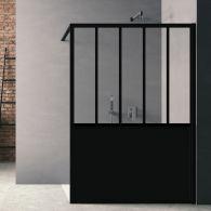Paroi de douche Loft Steel H 200 x L 100 cm - Noir Mat / 2 barrettes