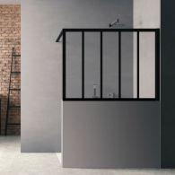 Paroi de douche Loft Wall H120 x L 100 cm - Noir Mat / 2 barrettes