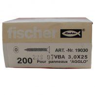 200 Vis VBA Tête fraisée Classic Fast Ø3x25 à Filetage Total -  Fischer