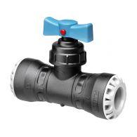 Vanne encliquetable réduite tube PE Ø25 - Ø20 - Série 1 - Plasson