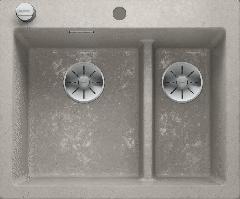 Évier de cuisine Pleon 6 Split - Béton style - Sous-meuble 60 cm - 615 x 510 x 220 mm - Vidage auto - Blanco