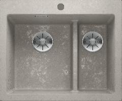 Évier de cuisine Pleon 6 Split - Béton style - Sous-meuble 60 cm - 615 x 510 x 220 mm - Vidage manuel - Blanco