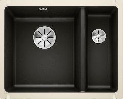 Évier en céramique Subline 350/150-U - Sous-meuble de 60 cm - 567 x 456 x 185/130 mm - Noir - Vidage manuel - Blanco
