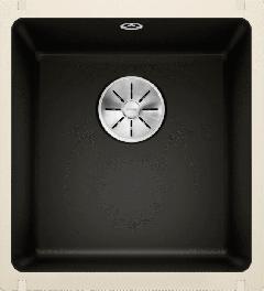 Évier en céramique Subline 375-U - Sous-meuble de 45 cm - 414 x 456 x 185 mm - Noir - Vidage manuel - Blanco
