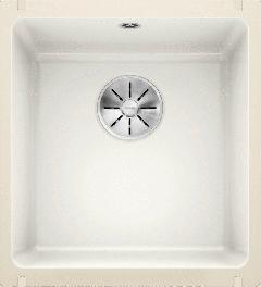 Évier en céramique Subline 375-U - Sous-meuble de 45 cm - 414 x 456 x 185 mm - Blanc cristal - Vidage manuel - Blanco