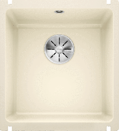 Évier en céramique Subline 375-U - Sous-meuble de 45 cm - 414 x 456 x 185 mm - Magnolia cristal - Vidage manuel - Blanco