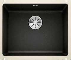 Évier en céramique Subline 500-U - Sous-meuble de 60 cm - 543 x 456 x 185 mm - Noir - Vidage manuel - Blanco