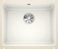 Évier en céramique Subline 500-U - Sous-meuble de 60 cm - 543 x 456 x 185 mm - Blanc cristal - Vidage manuel - Blanco