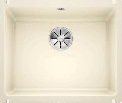 Évier en céramique Subline 500-U - Sous-meuble de 60 cm - 543 x 456 x 185 mm - Magnolia cristal - Vidage manuel - Blanco