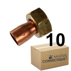 """Lot de 10 douilles droites 2 pièces 359 GCL Femelle 3/4"""" - Ø22mm"""