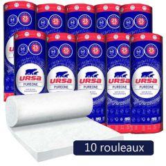 10 rouleaux laine de verre URSA PUREONE 40 RN - Ep. 100mm - 96m² - R 2.50