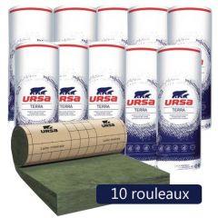 10 rouleaux laine de verre URSA MRK 40 TERRA revêtu kraft - Ep. 100mm - 102m² - R 2.50