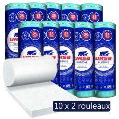 10 Paquets de 2 rouleaux laine de verre PureOne 40 QN acoustique - Ep. 45mm - 194,40m² - R 1.10