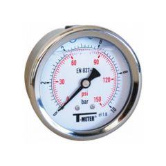 "Manomètre boitier inox à bain de glycérine RADIAL Mâle 1/4"" (8/13) - Pression 0 / 25 - Sferaco"