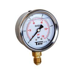 "Manomètre boitier inox à bain de glycérine RADIAL Mâle 1/4"" (8/13) - Pression 0 / 600 bars - Ø63 - Sferaco"