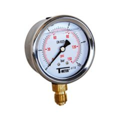 "Manomètre boitier inox à bain de glycérine RADIAL Mâle 1/2"" (15/21) - Ø100 - Pression 0 / 100 bars - Sferaco"