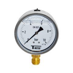 "Manomètre boitier inox à bain de glycérine RADIAL Mâle 1/2"" (15/21) - Ø100 - Pression 0 / 250 bars - Sferaco"