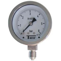 "Manomètre TOUT Inox à cadran sec RADIAL Mâle 1/4"" (8/13) - Ø63 - Pression 0 / 10 bars - Sferaco"