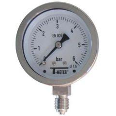 "Manomètre TOUT Inox à cadran sec RADIAL Mâle 1/4"" (8/13) - Ø63 - Pression 0 / 16 bars - Sferaco"