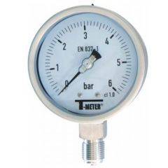 "Manomètre TOUT Inox à cadran sec RADIAL Mâle 1/2"" (15/21) - Ø100 - Pression 0 / 1 bars - Sferaco"