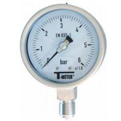 "Manomètre TOUT Inox à cadran sec RADIAL Mâle 1/2"" (15/21) - Ø100 - Pression 0 / 6 bars - Sferaco"