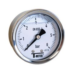 "Manomètre boitier inox à bain de glycérine AXIAL Mâle 1/4"" (8/13) - Ø50 - Pression 0 / 2.5 bars - Sferaco"
