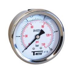 "Manomètre boitier inox à bain de glycérine AXIAL Mâle 1/4"" (8/13) - Ø63 - Pression 0 / 10 bars - Sferaco"
