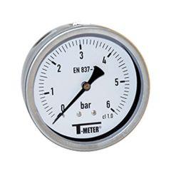 "Manomètre boitier inox à bain de glycérine AXIAL Mâle 1/2"" (15/21) - Ø100 - Pression 0 / 10 bars - Sferaco"