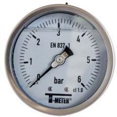 "Manomètre TOUT Inox à bain de glycérine AXIAL Mâle 1/2"" (15/21) - Ø100 - Pression 0 / 10 bars - Sferaco"
