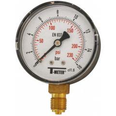 """Manomètre ABS à cadran sec RADIAL Mâle 1/4"""" (8/13)- Ø63 - 0 à 16 bars - Sferaco"""