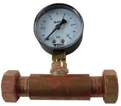Jaquette prise pression réseau eau Femelle écrou libre 3/4'' (20/27) + Manomètre Radial 0/10 bars Glycérine - Q0134FL34 + Q04R10G - Arcanaute
