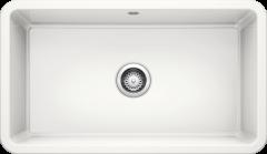 Évier en céramique Villae simple - Blanc cristal - Sous-meuble de 80 cm - 795 x 460 x 195 mm - Vidage Manuel - Blanco