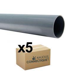 Lot de 5 Tubes PVC évacuation NF-Me lisse - diamètre 63 mm - 4 mètres
