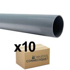 Lot de 10 Tubes PVC évacuation NF-Me lisse - diamètre 63 mm - 4 mètres