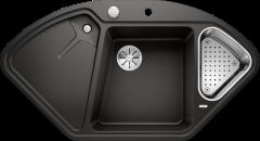 Évier de cuisine BlancoDelta II - Noir - Sous-meuble 90x90x80 cm - 1057 x 575 x 183/120 mm + vide-sauce - Blanco