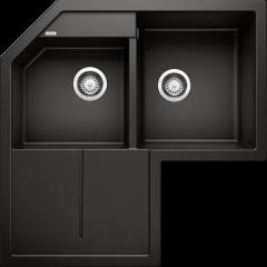 Évier de cuisine d'angle Blanco Metra 9 E - Sous-meuble 90x90cm - 830 x 830 x 190 mm - Noir - Vidage manuel - Blanco