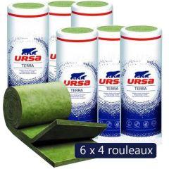 6 paquets de 4 rouleaux laine de verre URSACOUSTIC TWIN R TERRA - Ep. 45mm - 116,64m² - R 1.10