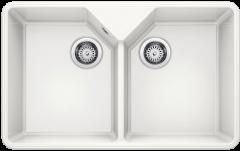 Évier en céramique Villae Farmhouse double - Sous-meuble de 80 cm - 794 x 490 x 195 mm - Blanc cristal - Vidage manuel - Blanco