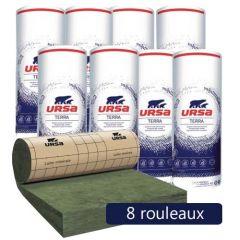 8 rouleaux laine de verre URSA PRK 32 TERRA revêtu kraft - Ep. 75mm - 51,84m² - R 2.30