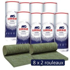 8 paquets de 2 rouleaux laine de verre URSA Hometec 32 MOB - Ep. 145mm - 24.40 m² - R 4.50