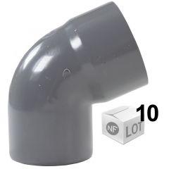 Lot de 10 Coudes PVC 67°30 Mâle/Femelle Ø32 ou Ø40 ou Ø50 ou Ø100mm -  First Plast