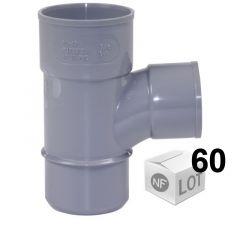 Lot de 60 raccords PVC - Té pied de biche 87°30 Mâle Femelle Ø32 ou Ø40 FIRST-PLAST
