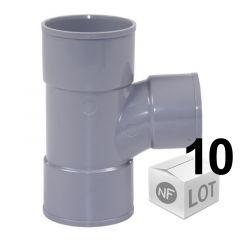 Lot de 10 raccords PVC - Té pied de biche 87°30 Femelle Femelle Ø32 ou Ø40 ou Ø50 ou Ø100 FIRST-PLAST