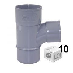 Lot de 10 raccords PVC - Té pied de biche 87°30 Mâle Femelle Ø32 ou Ø40 ou Ø50 ou Ø100 FIRST-PLAST
