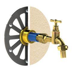 Applique robinet de jardin sous enduit APLIC'ENDUIT cuivre 14-16