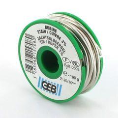 Bobine Fil Soudure Etain/3% cuivre Ø2mm - 100g