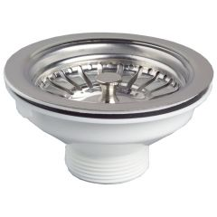 Bonde évier Ø90 mm NF à panier en inox - Wirquin Pro 30720426