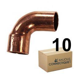 Lot de 10 coudes cuivre à souder MF 90°petit rayon Ø22